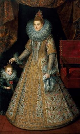 Philip II's daughter Isabel Clara Eugenia with her favourite dwarf, Margarita Ruiz
